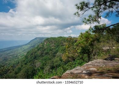 Cloudy blue sky and mountain taken from Mak Duk Cliff, Phu Kradueng National Park, Loei Province