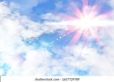 Cloudy blue sky with red and yellow sunbeam. Horizontal composition