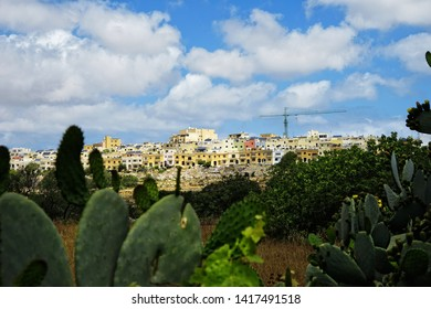 cloudy cityscape view of residential district of Mediterranean island Malta