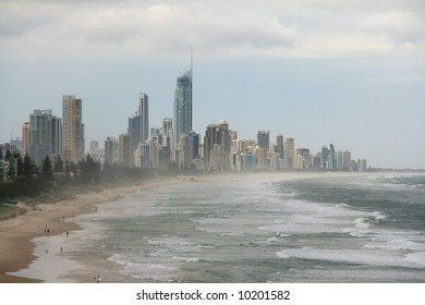 Cloudy coastline of Surfer's Paradise