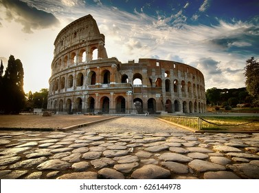 Cloudy dawn over roman Colosseum in Italy