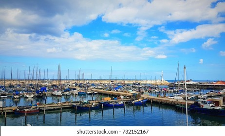 Cloudy day Ashkelon marina Israel port