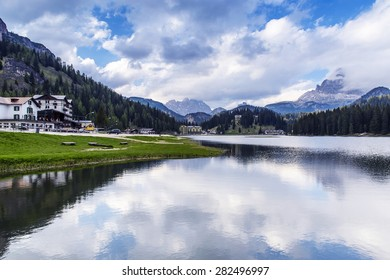 Cloudy day of Lake Misurina in Dolomite, Italy
