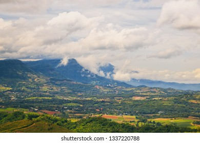 Cloudy day landscape of mountain and town of Phetchabun province, Thailand.