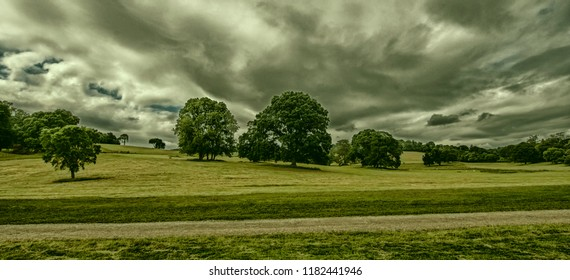 A cloudy day on the grounds of Port Eliot in the parish of St Germans, Cornwall, England.