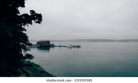 Cloudy day in the Pudget sound, coast of Whidbey Island