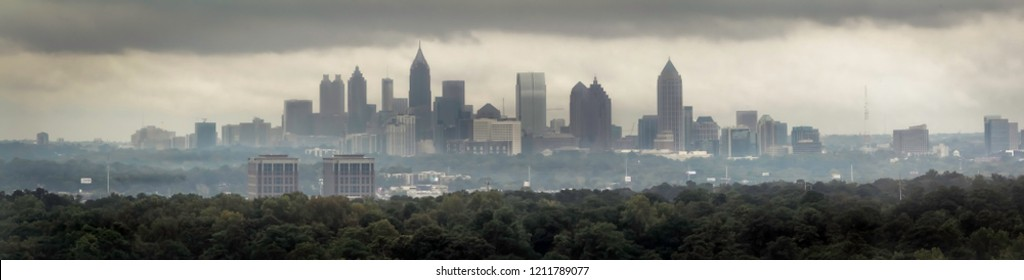 Cloudy Days view of Atlanta Skyline as seen from Buckhead High Rise.