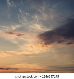 Cloudy dusk sky