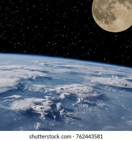 Cloudy earth and moon. The elements of this image furnished by NASA.