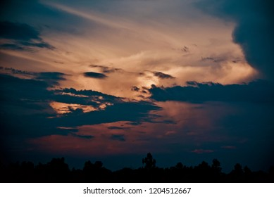 Cloudy evening sky isolated unique natural photo