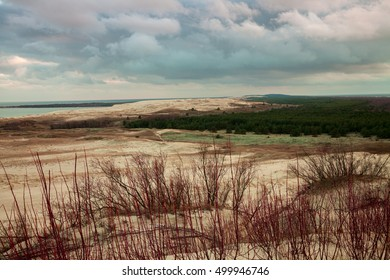Cloudy evening sky over Parnidis dune in autumn, Neringa, Lithuania