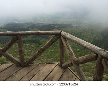 cloudy and foggy terrace at the top of the mountain in Millennium Cross, skopje, Macedonia