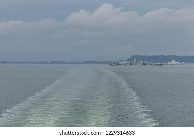Cloudy hazy afternoon leaving the port of Tsawwassen, British Columbia, Canada