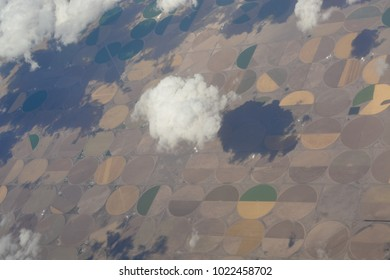 Cloudy hazy sky on bright summer day, aerial view from plane