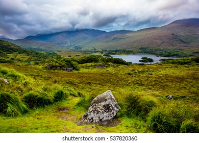 Cloudy Hills and Lake in Ireland