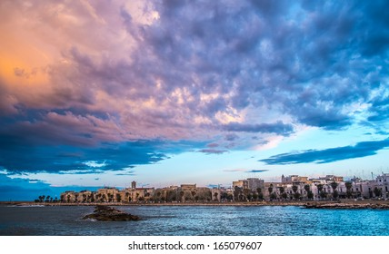 Cloudy landscape over Mola di Bari, south of Italy