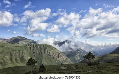 cloudy landscape in the pyrenees