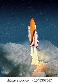 """Cloudy launch of rocket into starry outer space. """"The elements of this image furnished by NASA"""""""