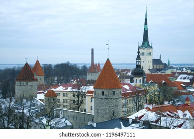 Cloudy March day over old Tallinn. Estonia