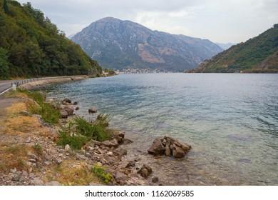 Cloudy Mediterranean landscape. Montenegro, Bay of Kotor ( Adriatic Sea )  near Verige Strait