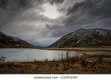 Cloudy and moody day in the valley by the lake