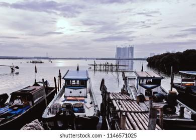Cloudy Morning at Kamal Muara port Jakarta Indonesia