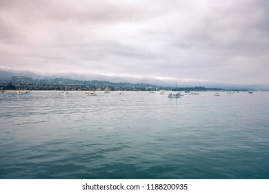 Cloudy morning on the coast of Santa Barbara, California. View from the Pier.