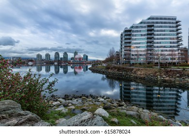 Cloudy morning view on False Creek, Vancouver, BC, Canada.