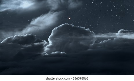 Cloudy night sky with stars as seen from above