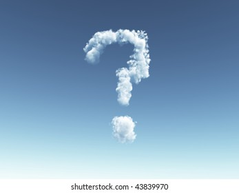cloudy question mark in the sky - 3d illustration
