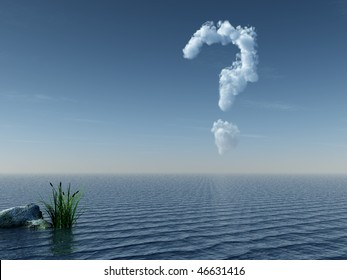 cloudy question mark at water landscape - 3d illustration