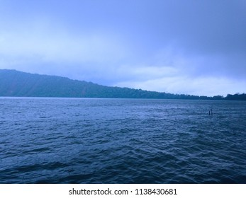 Cloudy Rainy Atmosphere At Beratan Lake Bedugul Bali Indonesia