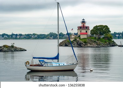 Too cloudy for sailing near Pomham Rock Lighthouse in Providence, Rhode Island.