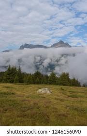 cloudy scene in swiss alps