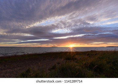 Cloudy scenery and sunset in the Baltic sea