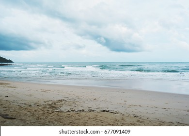 Cloudy with seascape and beach in tropical.Beach and sea with wave.