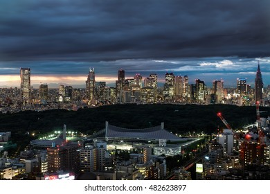 Cloudy Shinjuku Skyline in the Evening