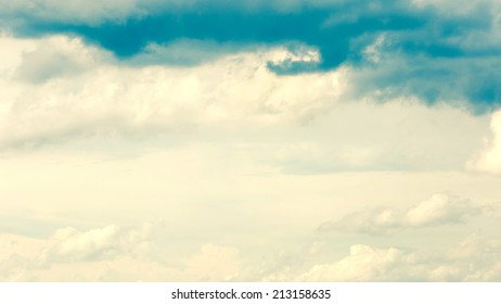 Cloudy sky 16:9 vintage abstract background.