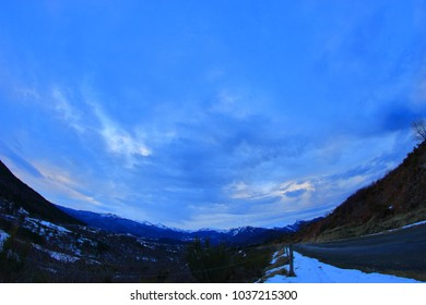 cloudy sky Aat suynset in Pyrenees. Ariege in south of France