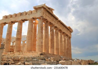 Cloudy sky above ancient Parthenon on the Athenian Acropolis, Greece