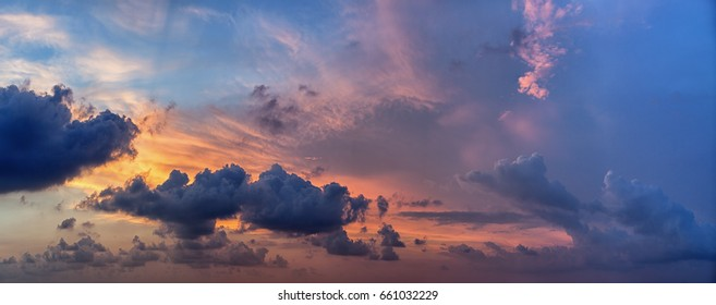 Cloudy sky before the sunset. Colorful sky. Just a sky