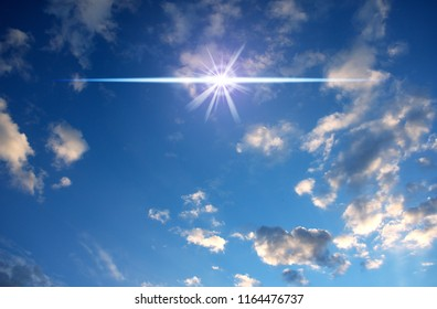 cloudy sky with mystical flar and rays of light like mystic magic background