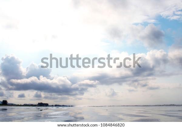 Cloudy sky on the beach