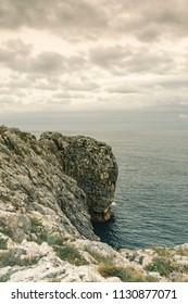 Cloudy sky over the Cantabrian sea. Cliffs of Asturias, Spain