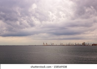 Cloudy sky over the harbor of Thessaloniki, Greece, in autumn
