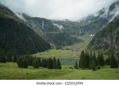 Cloudy sky over the Hintersee lake