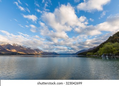 cloudy sky over the lake in New Zealand