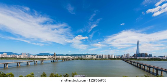 cloudy sky  Seoulcity South Korea. Hangang River and bridge