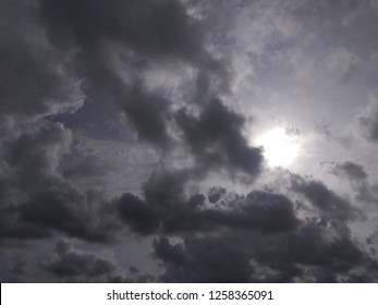 Cloudy sky and the sun