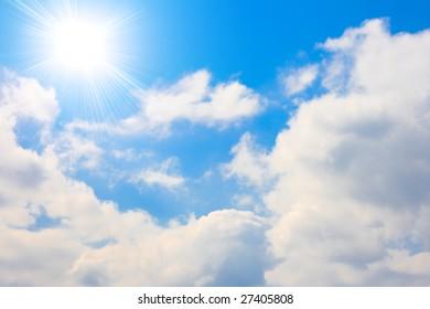 Cloudy sky  and sun